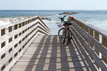 two bicycles on an Alabama Gulf Coast boardwalk