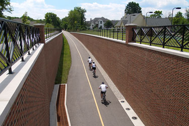 cycling on the Monon Greenway, Carmel, Indiana
