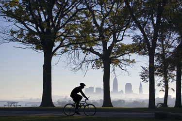 bicycle rider silhouette in a Cleveland, Ohio park