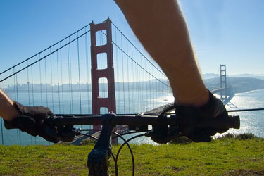 cyclist in Marin County, overlooking the Golden Gate Bridge