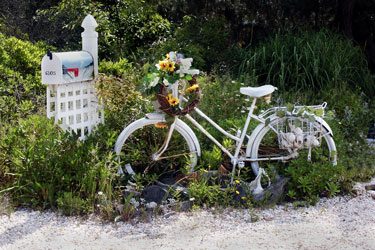 old white bicycle at a New Jersey shore home