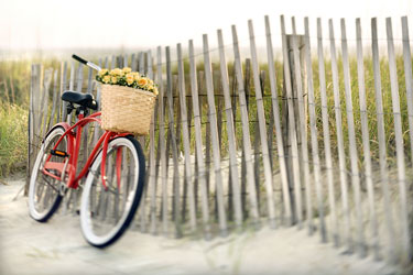 red bicycle leaning against a North Carolina sand dune fence