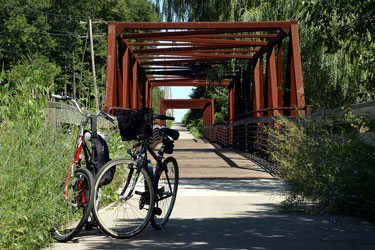 two bicycles on a Wisconsin bicycle trail