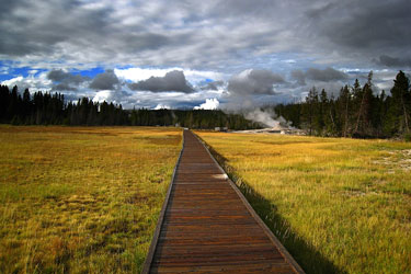 boardwalk trail in Yellowstone National Park, Wyoming
